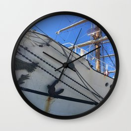 Old Sailing Ship In Port Wall Clock