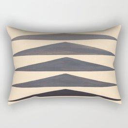 Gray Geometric Triangle Pattern With Black Accent Rectangular Pillow
