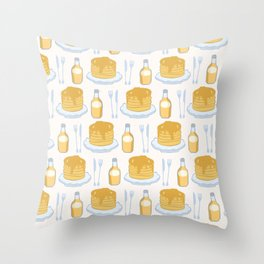 Cute vector pancake day breakfast illustration Throw Pillow