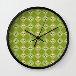 Gold horseshoe with clover Wall Clock