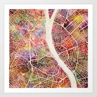 budapest Art Prints featuring Budapest  by MapMapMaps.Watercolors