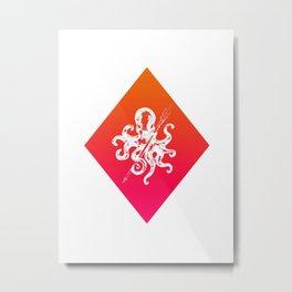 Orange and Pink Diamond Octopus  Metal Print