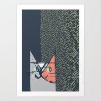 Cubist Cat Study #1 by Friztin Art Print