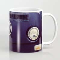 vw bus Mugs featuring Blue VW Bus by Anna Dykema Photography