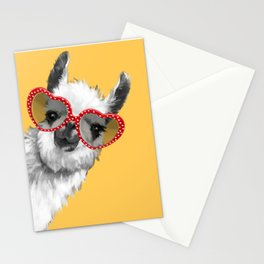 Fashion Hipster Llama with Glasses Stationery Cards