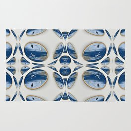 Snowblue Clock Pattern 2 Rug
