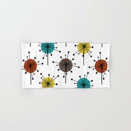 Atomic Era Sputnik Starburst Flowers Hand & Bath Towel