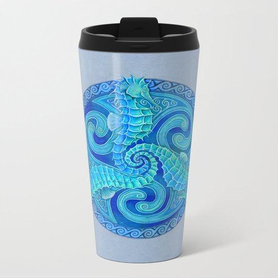 Seahorse Triskele Celtic Mandala Metal Travel Mug