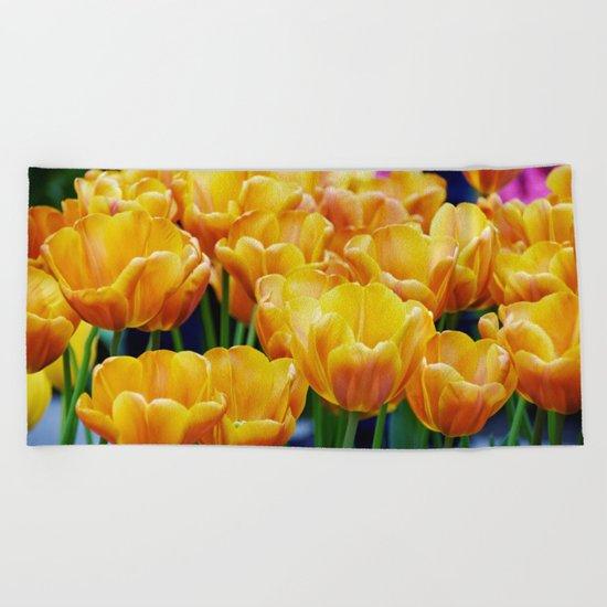 Yellow Orange Tulips Beach Towel