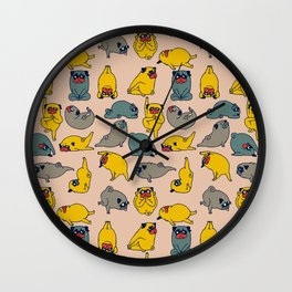 Pugs Asanas Wall Clock