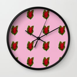 Red Caladiums Wall Clock