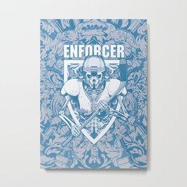 Enforcer Ice Hockey Player Skeleton Metal Print
