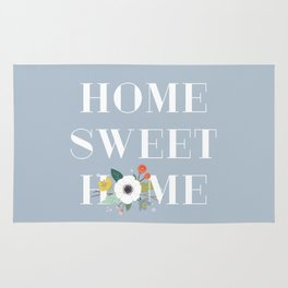 Floral Home Sweet Home - Dusty Blue Rug