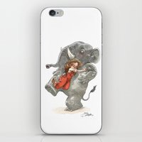 bouletcorp iPhone & iPod Skins featuring Elephant Hug by Bouletcorp