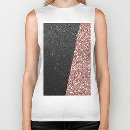 Abstract black rose gold geometrical glitter Biker Tank