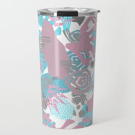 Artistic nautical teal pink gray coral floral pattern Travel Mug