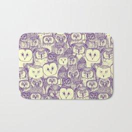 just owls purple cream Bath Mat