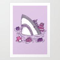 Birthday Princess Shark Art Print