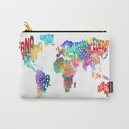 Typography Text Map of the World Carry-All Pouch
