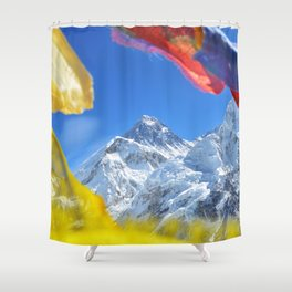 Summit of mount Everest or Chomolungma - highest mountain in the world, view from Kala Patthar,Nepal Shower Curtain