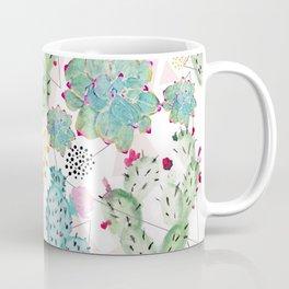 Modern triangles and hand paint cactus pattern Coffee Mug