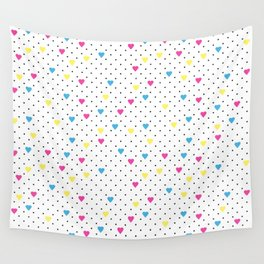 Pin Point Hearts CMYK Wall Tapestry