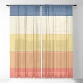 Yoshikatsu - Colorful 70s Retro Stripes Sheer Curtain