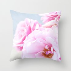 Blushing Roses Throw Pillow