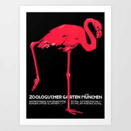 Vintage Pink flamingo Munich Zoo travel ad Art Print