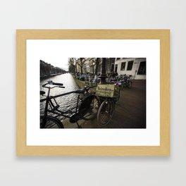 Heineken Bike on the Amsterdam Canals Framed Art Print