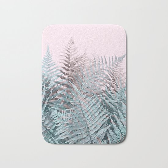 Duotone Fern Jungle on Soft Pink Bath Mat