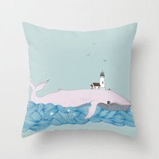 Whale beacon Throw Pillow