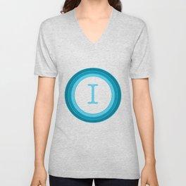 Blue letter I Unisex V-Neck