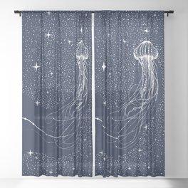 starry jellyfish Sheer Curtain