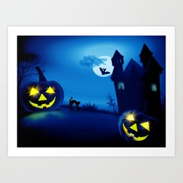 Background with pumpkins in Halloween party Art Print
