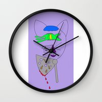 american psycho Wall Clocks featuring American Psycho by AMP-CRAYON