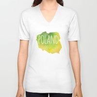 poland V-neck T-shirts featuring Poland by Stephanie Wittenburg
