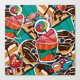 Pattern. Desserts, muffins, cupcakes, candies, cheesecake, chocolate, coffee. Canvas Print