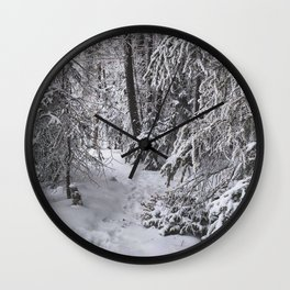 Hoarfrost on the Trees near the Maligne River, Canada Wall Clock