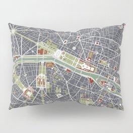Paris city map engraving Pillow Sham