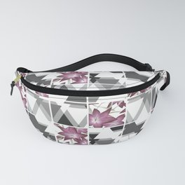 Pink lilies on a cramped gray background triangles . Fanny Pack