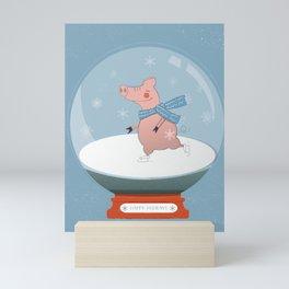 Ice Skating Pig Mini Art Print