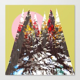 """Trees, Mountains, Flowers, Sun Vector Illustration"" Canvas Print"