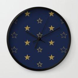 Golden Dust Stars | Pattern Art Wall Clock