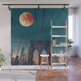 Blood Moon over the Brooklyn Bridge and New York City Skyline Wall Mural