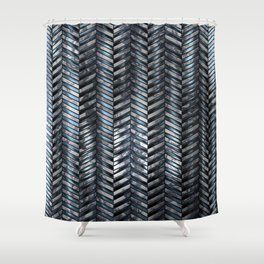 Alien Columns - White and Blue Shower Curtain