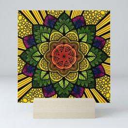 Vibrant colourful floral style Mandala Design Mini Art Print