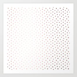 Cool Rose Gold Polka Dots Art Print