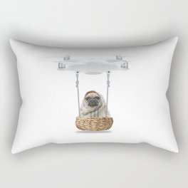 Pug Dog in a Drone Rectangular Pillow