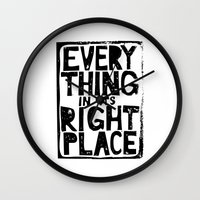radiohead Wall Clocks featuring Everything in Its Right Place - Radiohead by Bastien13